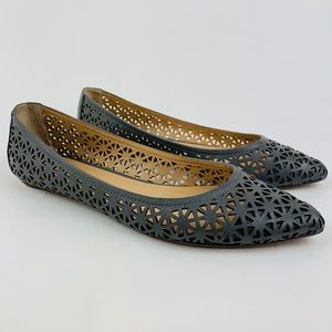 Joe's LEATHER Laser Cut Perforated Flats 6.5 Shoes